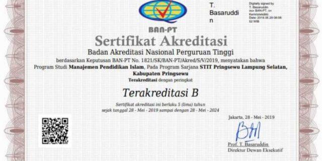 Prodi Manajemen Pendidikan Islam STIT Pringsewu Raih Akreditasi B BAN-PT